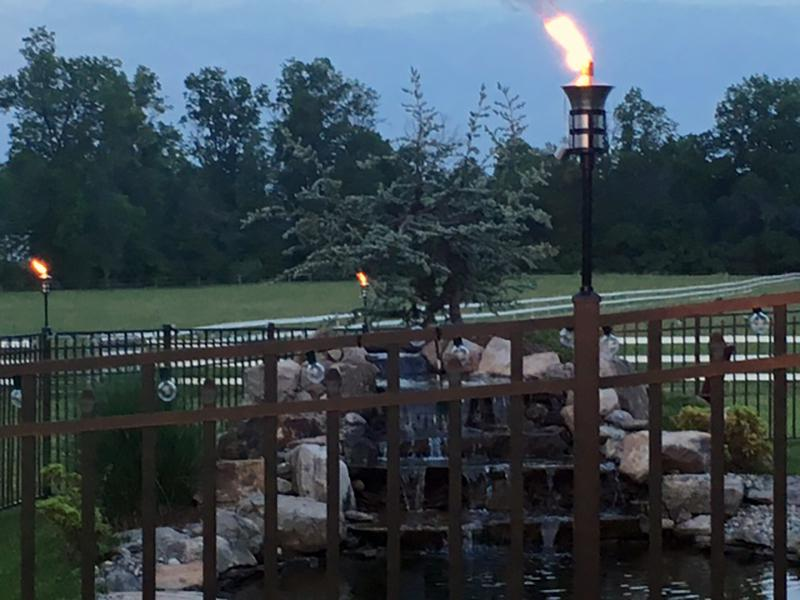 Aluminum Fence Post with Tiki Torches